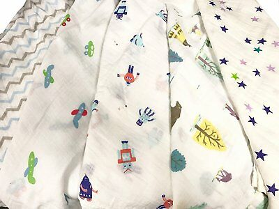 2pcs Extra Large 115cmx115cm Muslin Squares Cloths Bibs 100% Cotton BOY Designs