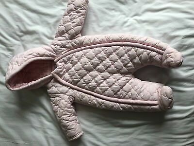 Mamas and Papas Pink Quilted Pramsuit with Hood (size 0-3 months)