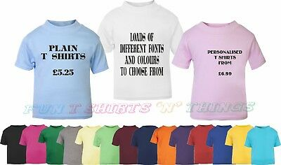Baby and toddler coloured t shirt plain or personalised size 0-3 up to 1-2 years