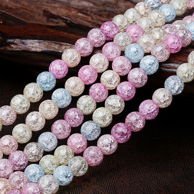 6-12MM Loose Quartz Crystal Spacer Beads Round Multicolor Snow Cracked Beads