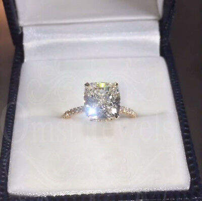 5Ct Cushion Sparkle Fired Moissanite Unique Engagement Ring 14K Real White Gold
