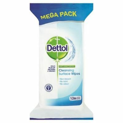 126 x Dettol Antibacterial Surface Cleanser Wipes Anti Bac Wipe Cold Flu Viruses