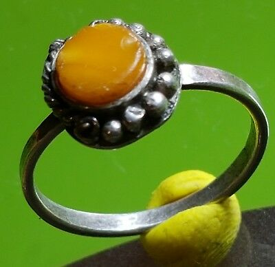 MEDIEVAL SILVER  RING with SEMIPRECIOUS YELLOW STONE !!