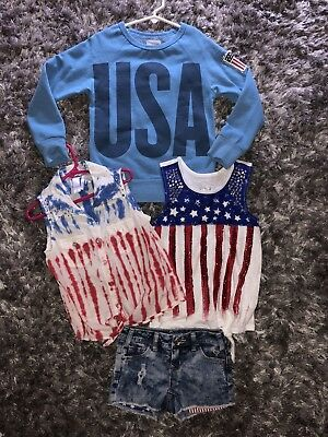 EUC Girls Size 6/7 Patriotic 4th Of July,custom Boutique Rhinestones!USA!Red!Lot