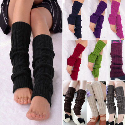 Ladies Winter Warm Leg Warmers Knit Knitted Crochet Leggings Boot Cable