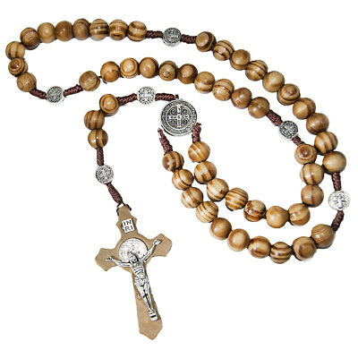 Olive Wood Christian Rosary Beads with Order of Saint Benedict Jerusalem 17""