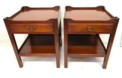 Pair Antique Georgian Style Mahogany Tray Top Bedside Cabinets Lamp Stands