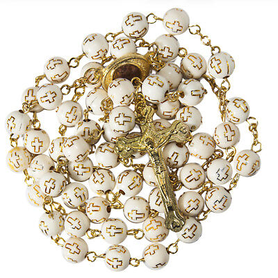 Rosary Beads Decorated with Cross Decor w/ Gold-plated Crucifixion Holy Land 21""