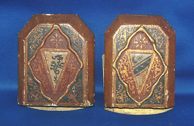 A pair of antique Victorian gothic medieval heraldic style hand painted bookends