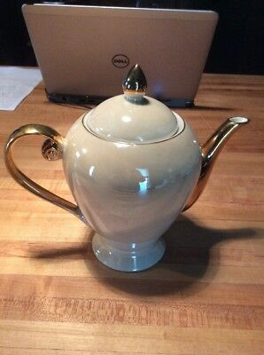 I. Godinger Co Pearl Luster Ivory TEAPOT with Gold Handle/Spout