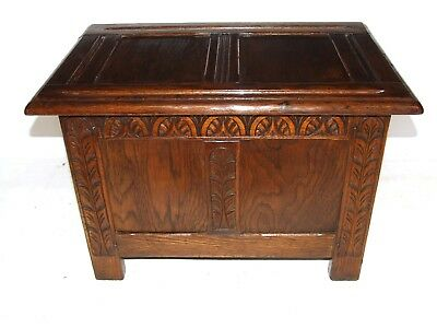 Small Antique Style Carved Oak Coffer Blanket Box Storage  Toy Box