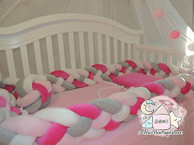 Double Braided Crib Bumper,Nursery  Baby bedding,bumpers,Knot, Crib Bumper
