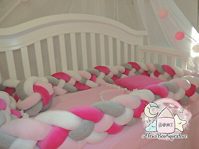 Double Braided Crib Bumpers,Nursery  Baby bedding,bumpers,Knot,Kids Room decor