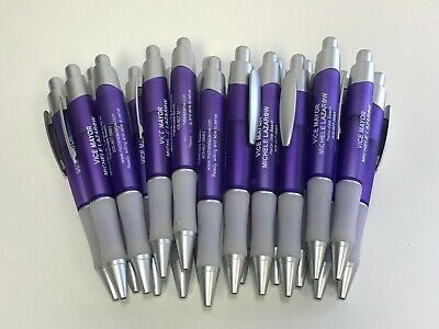 20 Lot Retractable Misprint Ink Pens, Thick Purple Barrels with Rubber Gripper