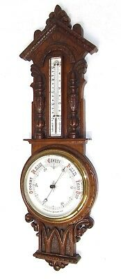 Antique Carved Oak Aneroid Banjo Barometer & Thermometer : China Dials (b29)