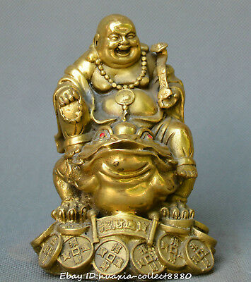 Collect China fengshui old bronze Gold toad yuanbao Maitreya Buddha money Statue