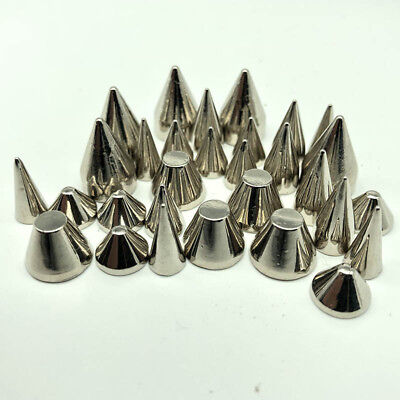 20 50pcs Silver Spots Cone Screw Metal Studs Leather craft Rivet Bullet Spikes