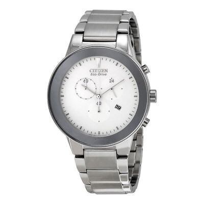 Citizen Eco-Drive AT2240-51A Men's Dress Axiom Chronograph White Dial Date Watch