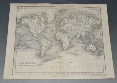 J. Dower The World on Mercators Projection Orr 1880 Original Steel Engraving