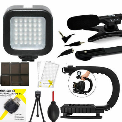 Video Led Light + Video Grip + Zoom Microphone For Canon Eos Rebel T5 T6 T6I T5I