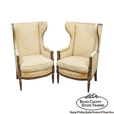 Regency Style Custom Quality Pair of Wing Chairs