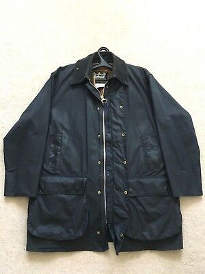 Authentic Men's BARBOUR BORDER Waxed Jacket Coat C 46 / 117cm Blue Winter Lining
