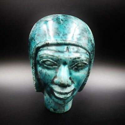 Amazing Ancient Egyptian Pharaoh Faience Bust Figure, Late Period 600 -300 B.C