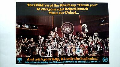 Music For Unicef...abba, Bee Gees & More.  Rare Original Print Promo Poster Ad