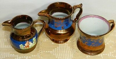 3 Antique Pieces Of Copper Lustre 2 Creamers & A Shaving Mug All In Mint Cond.!