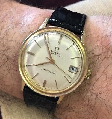 Vintage Men's Omega Automatic Seamaster Calendar 14K Yellow Gold-Filled Watch