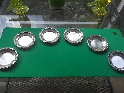 Set of 6 Ornate Peruvian Sterling Silver Nut Dishes Great Buy! FREE SHIP!
