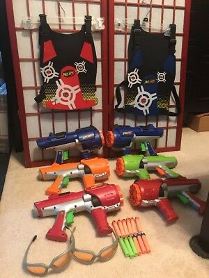 Nerf Gun Dart Tag - Lot of 6 Hyperfire Rotating Blasters Vests Glasses and Darts