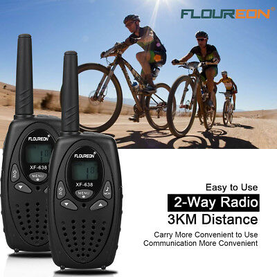 FLOUREON 4xLCD Walkie Talkie 8Kanäle PMR 2-Way Radio Funkgerät 3KM Range Black