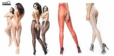 missO CROTCHLESS 20 DENIER SEAMED SHINY TIGHTS IN VARIOUS SHADES (P211)