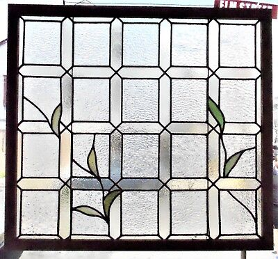 Old Stained Leaded Glass Window Vines w Green Leaves in Wood Frame Ready to Hang