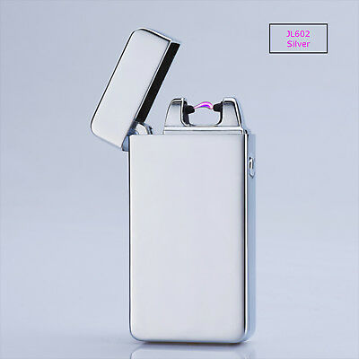 Electric Arc Plasma USB Rechargeable Flameless Windproof Lighter JL602 Silver