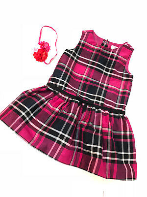 876dd4a4364fd Gymboree Baby Girl Dress & Headband Size 18-24 Months Occasion Plaid Pink  Lined