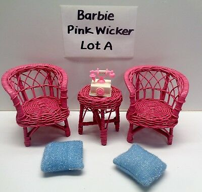 Vintage Barbie Doll Pink Wicker Patio Furniture Small Accessories Lot A