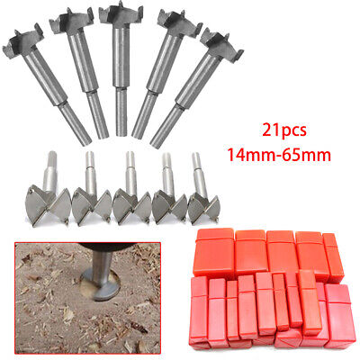 21 Sizes 14mm-65mm HSS Forstner Woodworking Wood Hole Saw Cutter Drill Bit kit