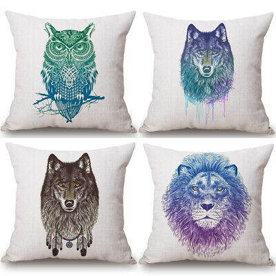 WaterColour Animal Cushion Cover Pillow Case Cotton Linen Sofa Car Home Decor