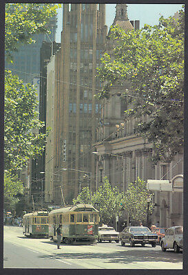 RETRO 1978 MELBOURNE TRAMS COLLINS ST VIC,  20c POSTCARD,  NEW