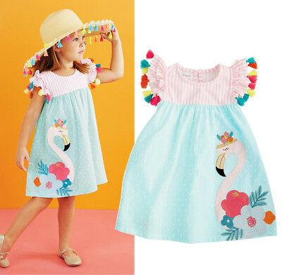 US Stock Toddler Kids Girls Flamingo Summer Casual Dress Sundress Clothes 1-6T