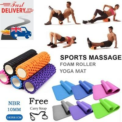 Thick TPE Yoga Exercise Mat & EVA Trigger Point Foam Rollers Gym Pilates Fitness