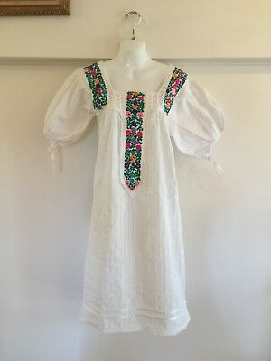Rare Mexican Vintage Cotton Embroidered Dress Size 10