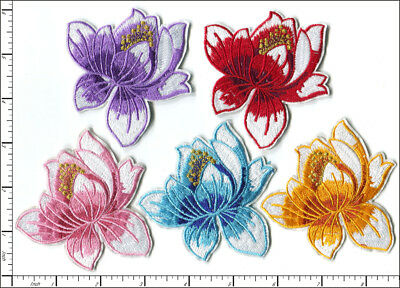 20 Pcs Embroidered Iron on patches 5 Color Mixed Lotus Water Lily AP022LA
