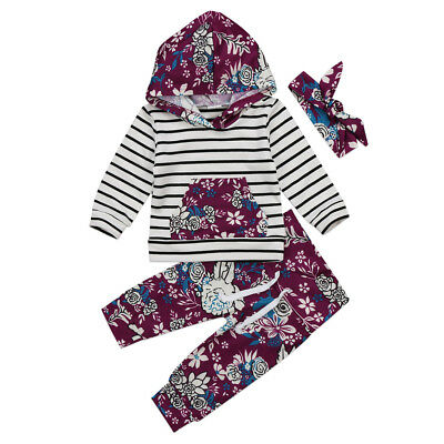 3pcs Newborn Toddler Baby Girl Hooded Sweater Tops+Pants Outfits Set Clothes USA