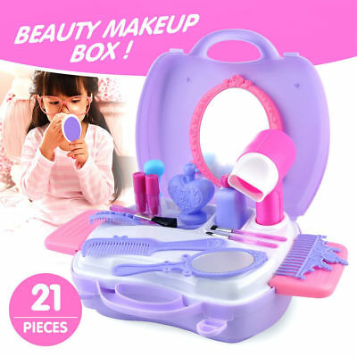 Pretend Role Play Beauty Case Childrens Girls Playset Make Up Mirror Toy UK Gift