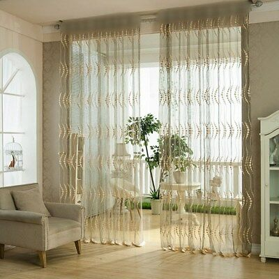Shiny Striped Hollowed White Mesh Voile Sheer Curtain Modern Window Drape 63/84""