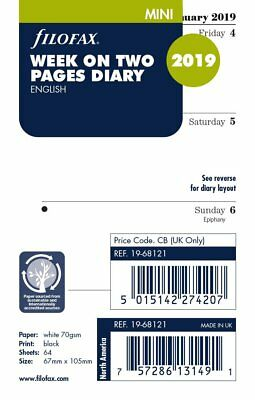Filofax 2019 Mini size Diary Week On Two Pages Refill Insert 19-68121