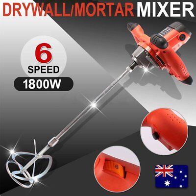 Drywall Mortar Mixer 1800W Plaster Cement Tile Adhesive Render Paint Six-speed E